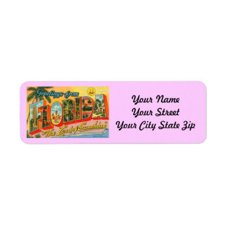 Retro Postcard Florida Return Label Return Address Label