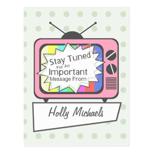 Retro Postcard: Stay Tuned....Pink TV Set