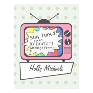 Retro Postcard: Stay Tuned....Pink TV Set Postcard