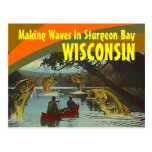 Retro Postcard Sturgeon Bay Wisconsin Exaggeration