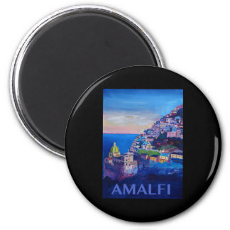 Retro Poster Amalfi Coast italy 2 Inch Round Magnet