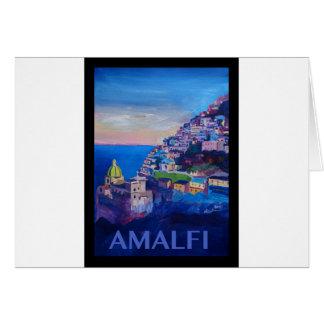Retro Poster Amalfi Coast italy Card