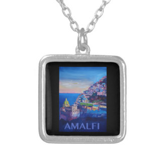 Retro Poster Amalfi Coast italy Silver Plated Necklace
