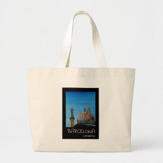 Retro Poster Barcelona Large Tote Bag