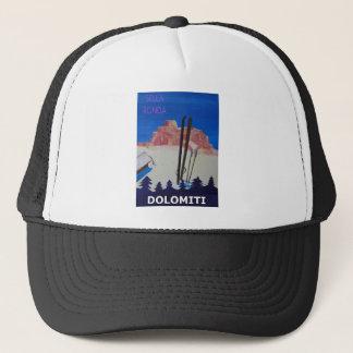 Retro Poster Dolomiti Italy at Sella Ronda Trucker Hat