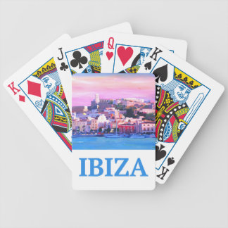 Retro Poster Ibiza Old Town and Harbour Bicycle Playing Cards