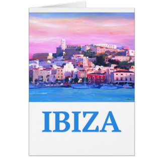 Retro Poster Ibiza Old Town and Harbour Card