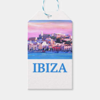 Retro Poster Ibiza Old Town and Harbour Gift Tags