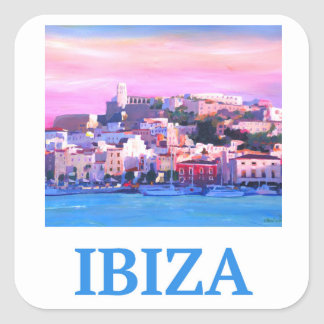 Retro Poster Ibiza Old Town and Harbour Square Sticker