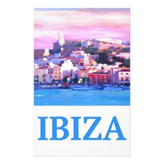 Retro Poster Ibiza Old Town and Harbour Stationery