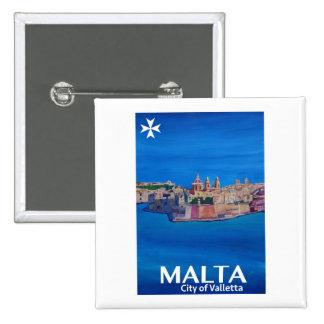 Retro Poster Malta Valetta  - City of Knights 2 Inch Square Button