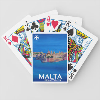 Retro Poster Malta Valetta  - City of Knights Bicycle Playing Cards