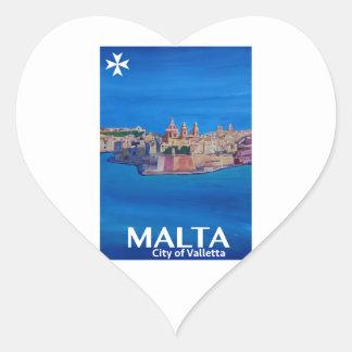 Retro Poster Malta Valetta  - City of Knights Heart Sticker