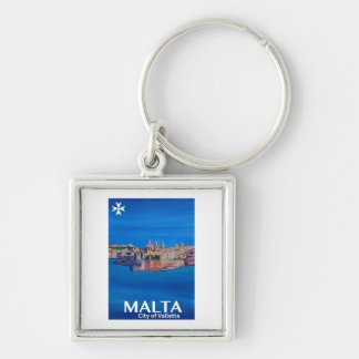 Retro Poster Malta Valetta  - City of Knights Keychain