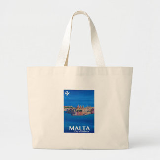 Retro Poster Malta Valetta  - City of Knights Large Tote Bag