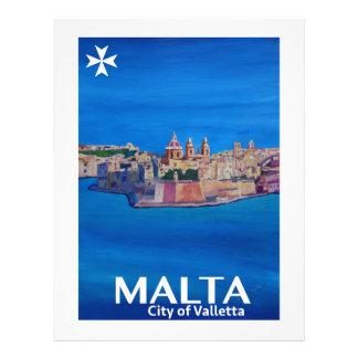 Retro Poster Malta Valetta  - City of Knights Letterhead