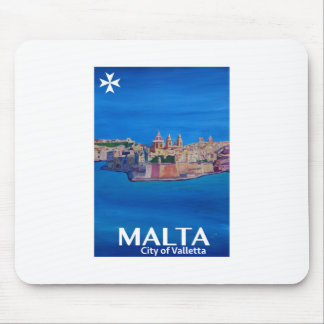 Retro Poster Malta Valetta  - City of Knights Mouse Pad