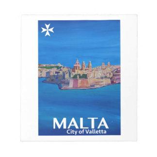 Retro Poster Malta Valetta  - City of Knights Notepad