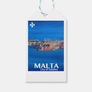 Retro Poster Malta Valetta  - City of Knights Pack Of Gift Tags