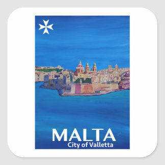 Retro Poster Malta Valetta  - City of Knights Square Sticker