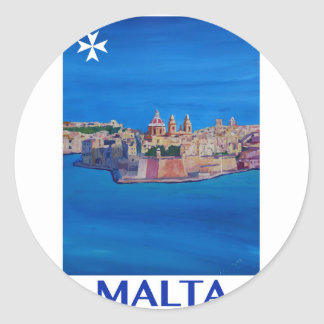 RETRO POSTER Malta Valetta City of KnightsII Classic Round Sticker