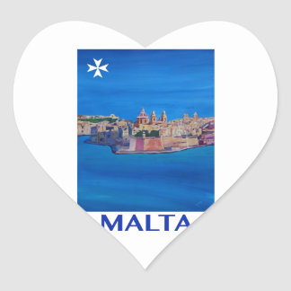 RETRO POSTER Malta Valetta City of KnightsII Heart Sticker