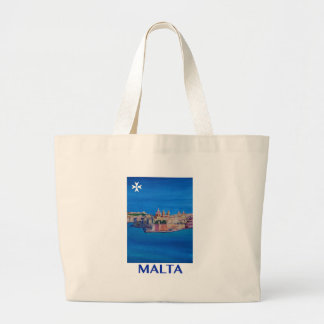 RETRO POSTER Malta Valetta City of KnightsII Large Tote Bag