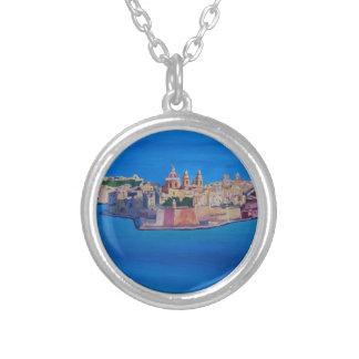 RETRO POSTER Malta Valetta City of KnightsII Silver Plated Necklace
