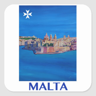 RETRO POSTER Malta Valetta City of KnightsII Square Sticker