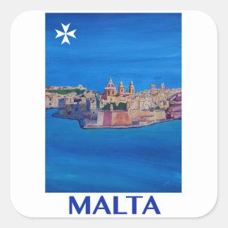 RETRO POSTER Malta Valetta City of KnightsII Square Sticker
