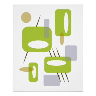 Retro Poster - Olives Martini Green