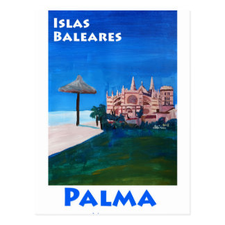 Retro Poster Palma De Mallorca Postcard