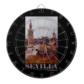 Retro Poster Sevilla Giralda Andalucia Dartboard