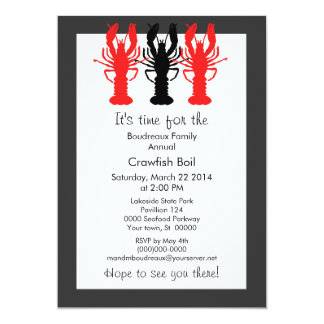 "Retro Poster Style Crawish / Lobster Boil 5"" X 7"" Invitation Card"