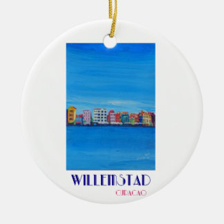 Retro Poster Willemstad Curacao Ceramic Ornament