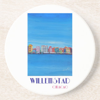 Retro Poster Willemstad Curacao Coaster