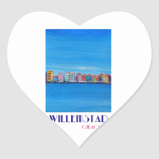 Retro Poster Willemstad Curacao Heart Sticker