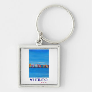 Retro Poster Willemstad Curacao Keychain