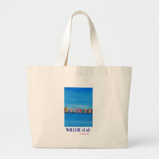 Retro Poster Willemstad Curacao Large Tote Bag