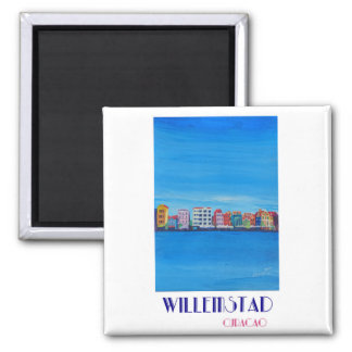 Retro Poster Willemstad Curacao Magnet
