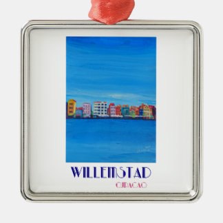 Retro Poster Willemstad Curacao Metal Ornament