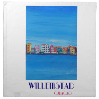 Retro Poster Willemstad Curacao Napkin