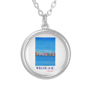 Retro Poster Willemstad Curacao Silver Plated Necklace