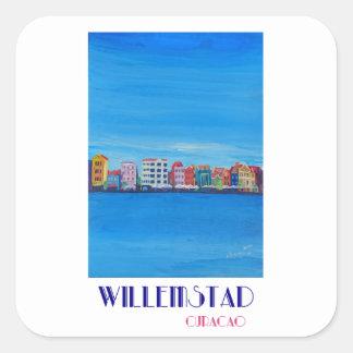 Retro Poster Willemstad Curacao Square Sticker