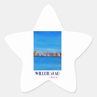Retro Poster Willemstad Curacao Star Sticker