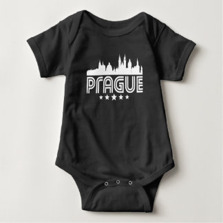 Retro Prague Skyline Baby Bodysuit