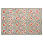 Retro Pretty Chic Red Teal Floral Mosaic Pattern Fabric