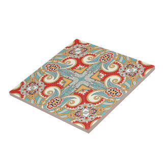 Retro Pretty Chic Red Teal Floral Mosaic Pattern Tile