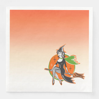Retro Pretty Halloween Witch on Her Broom Disposable Napkins