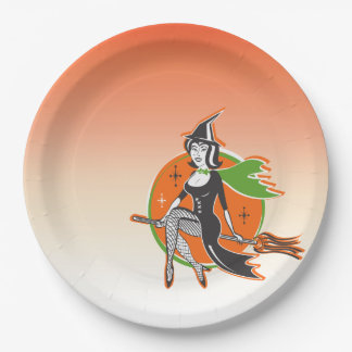 Retro Pretty Halloween Witch on Her Broom Paper Plate